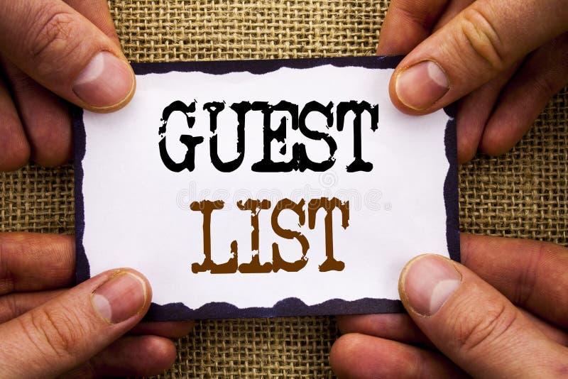 Palavra, escrita, casamento conceptual do planeamento da foto da lista do convidado do texto ou lista importantes dos convidados  imagens de stock
