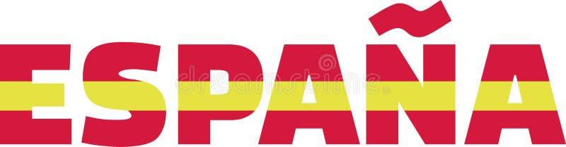 Palavra espanhola espana da bandeira ilustração do vetor