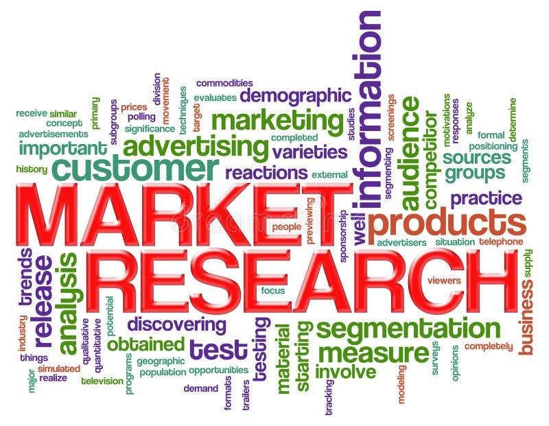 A palavra etiqueta estudos de mercado ilustração stock