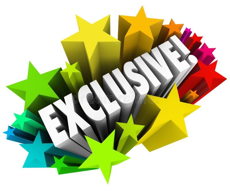A palavra exclusiva Stars o anúncio do produto do índice do acesso especial ilustração stock