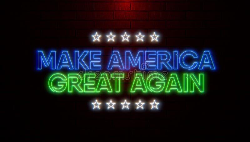 A palavra faz América grande outra vez com as cores de néon que cintilam na parede de tijolo Campanha republicana 2020 ilustração royalty free