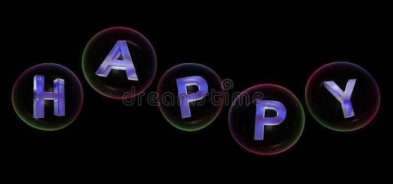 A palavra feliz na bolha ilustração stock