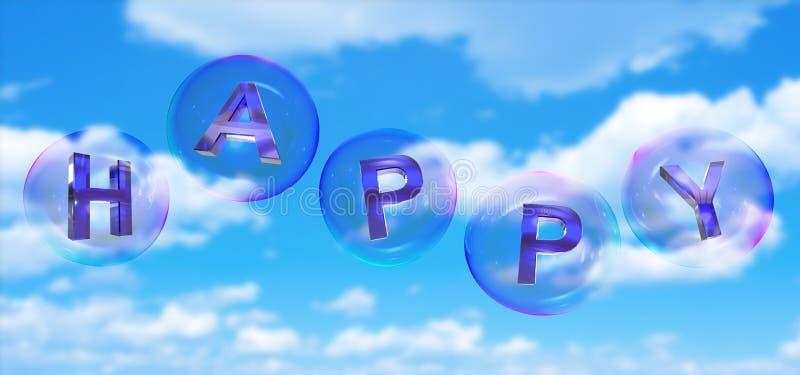 A palavra feliz na bolha ilustração royalty free
