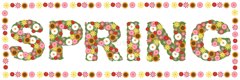 Palavra floral da mola ilustração do vetor