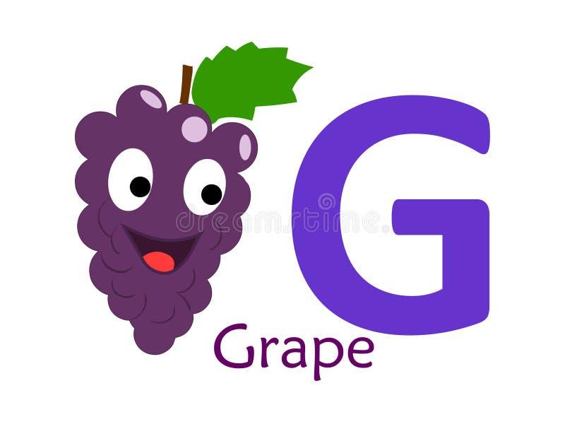 Palavra G do alfabeto G para a uva ilustração do vetor