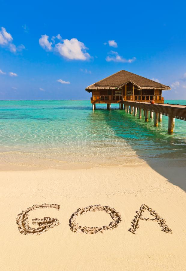 Palavra Goa na praia imagem de stock royalty free