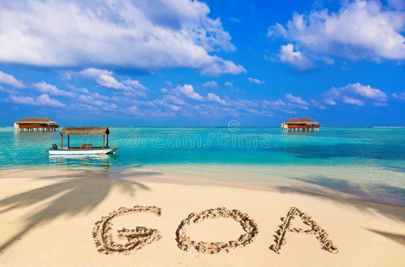 Palavra Goa na praia fotografia de stock