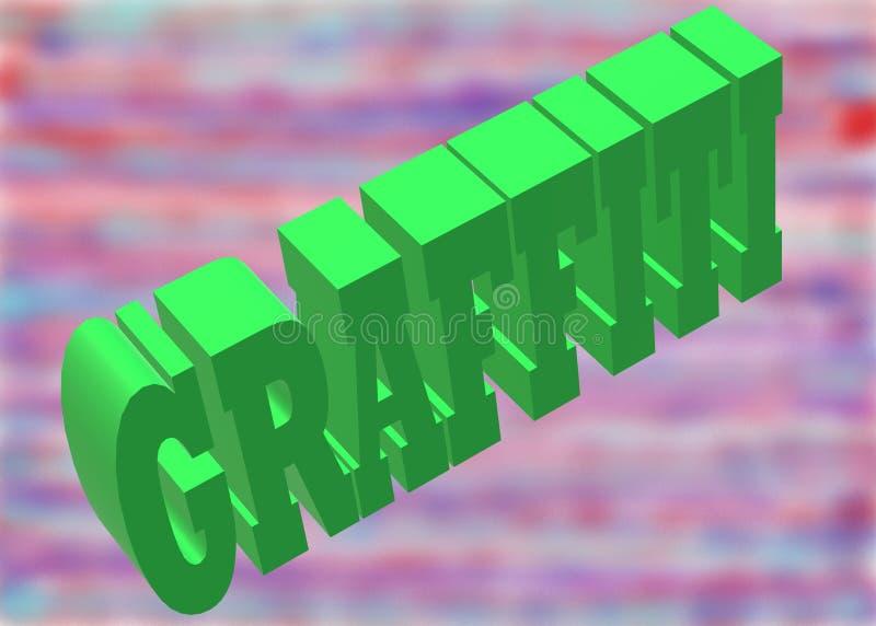 A palavra Graffiti em três dimensões contra pinturas em spray de índigo, violeta, roxo, azul, vermelho e rosa ilustração do vetor