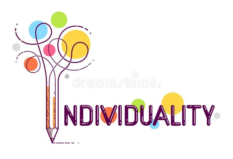 Palavra individual com o lápis em vez da letra mim, individualidade e conceito da personalidade, logotipo criativo conceptual do  ilustração royalty free