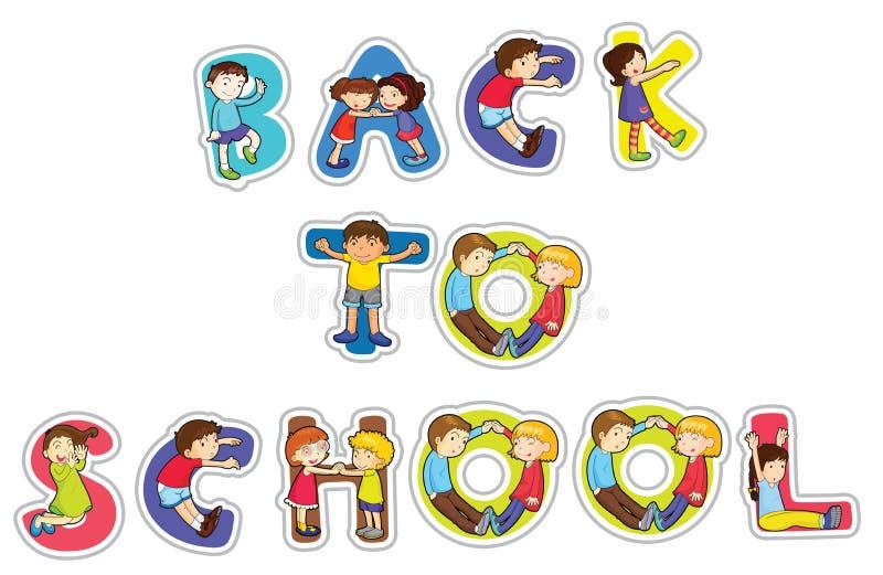 Palavra inglesa de volta à escola ilustração do vetor