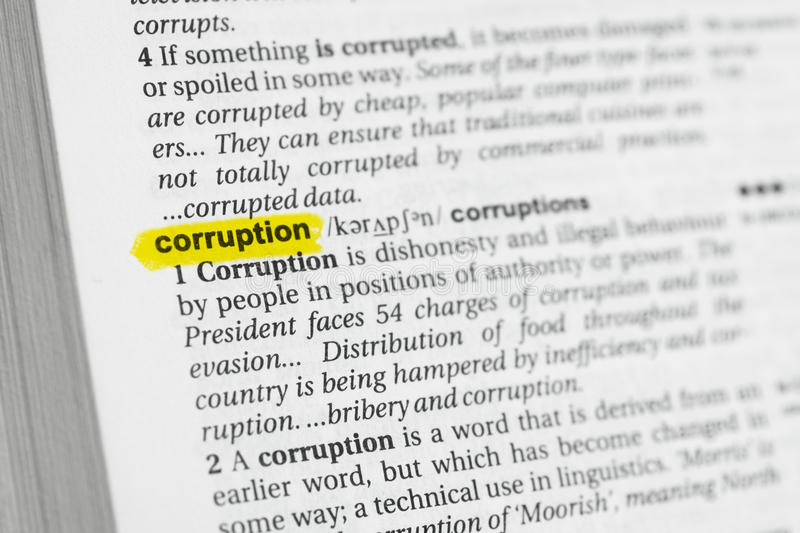 Palavra inglesa destacada & x22; corruption& x22; e sua definição no dicionário fotografia de stock royalty free