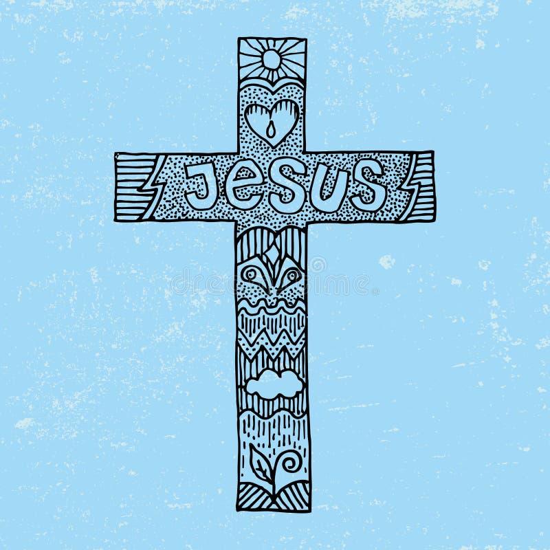 Palavra Jesus em uma cruz ilustração royalty free