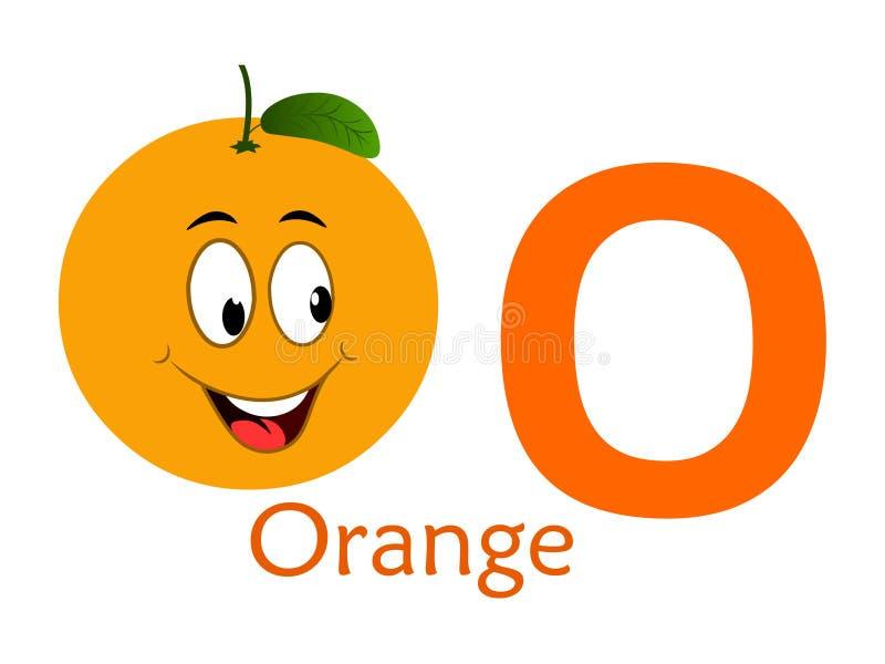 Palavra O do alfabeto O para a laranja ilustração stock