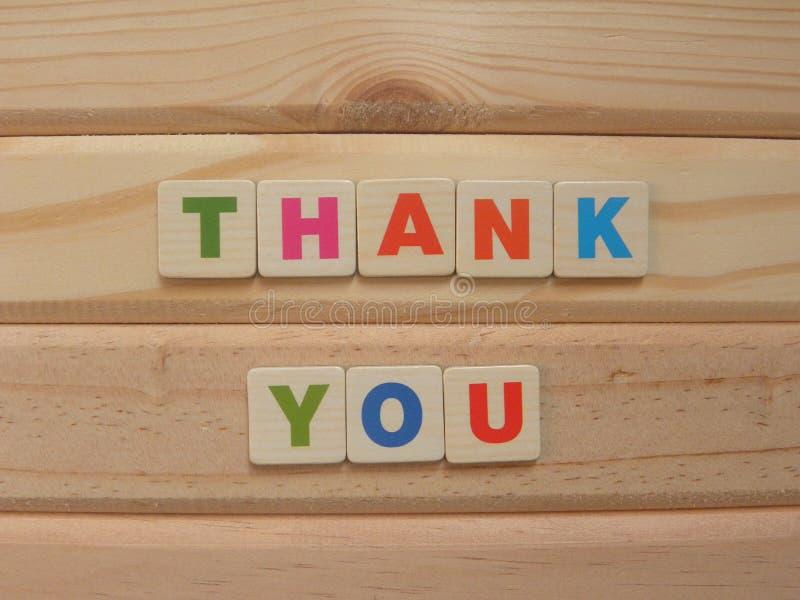 Palavra Obrigado em madeira fotos de stock royalty free