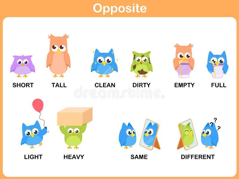 Palavra oposta para o pré-escolar ilustração royalty free