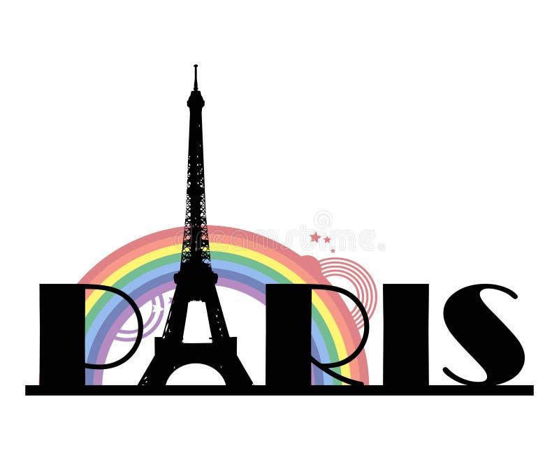Palavra Paris com arco-íris ilustração royalty free