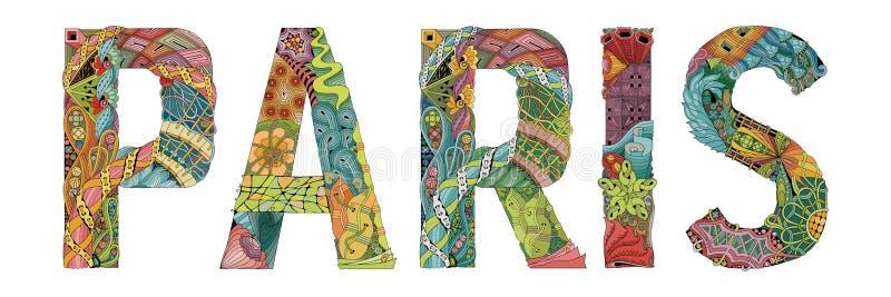 Palavra PARIS Objeto decorativo do zentangle do vetor para a decoração ilustração do vetor