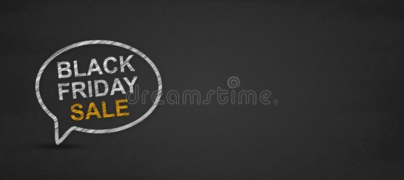 Palavra preta da venda de sexta-feira na bolha do discurso em um quadro-negro ilustração stock