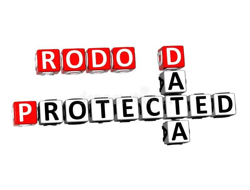 palavra protegida dados das palavras cruzadas RODO da rendição 3D sobre Backg branco ilustração stock