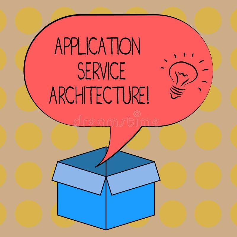 Palavra que escreve a arquitetura do serviço da aplicação do texto Conceito do negócio para o projeto das soluções que ligam o íc ilustração do vetor