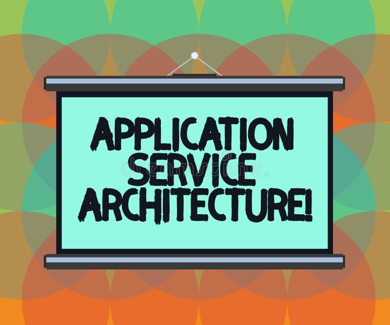 Palavra que escreve a arquitetura do serviço da aplicação do texto Conceito do negócio para o projeto das soluções que ligam a pl ilustração royalty free