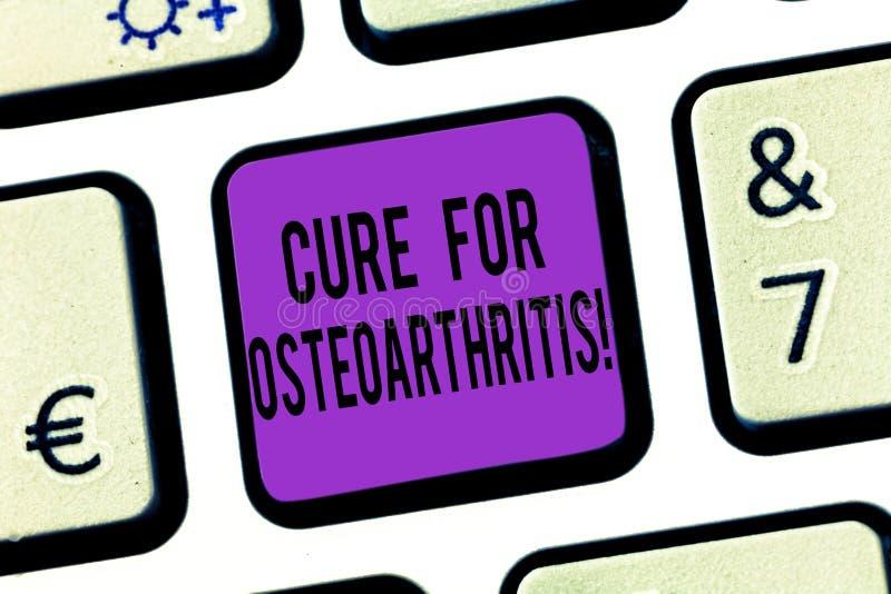 Palavra que escreve a cura do texto para a osteodistrofia Conceito do negócio para o tratamento para a dor e a rigidez do teclado fotos de stock
