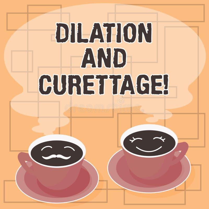 Palavra que escreve a dilatação e a curetagem do texto Conceito do negócio para que o procedimento remova o tecido do interior de ilustração stock