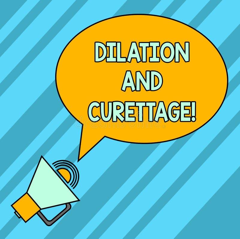 Palavra que escreve a dilatação e a curetagem do texto Conceito do negócio para que o procedimento remova o tecido do interior de ilustração do vetor