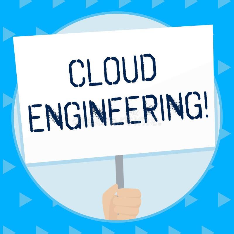 Palavra que escreve a engenharia da nuvem do texto Conceito do negócio para a aplicação de projetar disciplinas para nublar-se a  ilustração stock