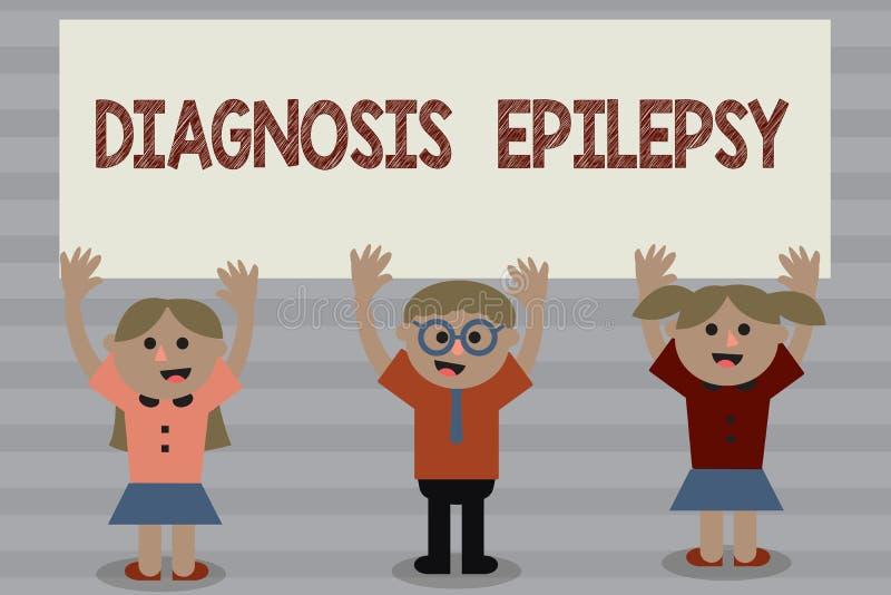Palavra que escreve a epilepsia do diagnóstico do texto Conceito do negócio para a desordem em que atividade de cérebro se torna  ilustração stock