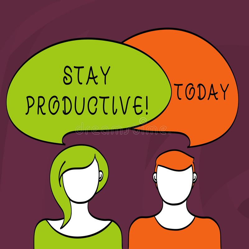 Palavra que escreve a estada do texto produtiva Conceito do negócio para a produtividade da concentração da eficiência ilustração royalty free