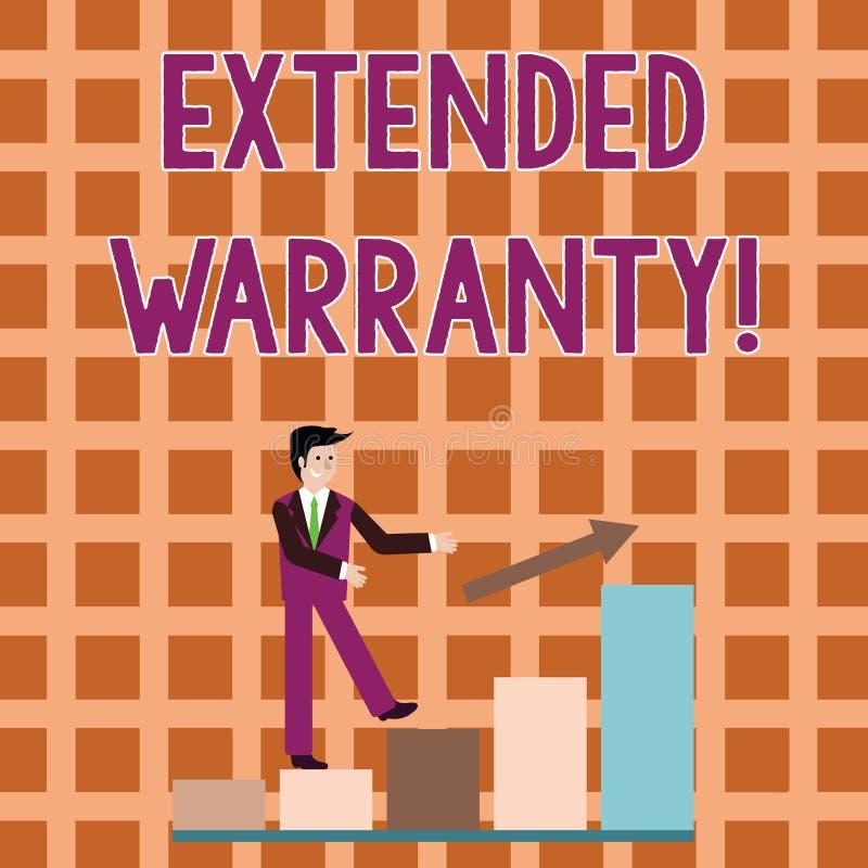 Palavra que escreve a garantia prolongada do texto Conceito do negócio para o contrato que dá uma garantia prolongada ao sorriso  ilustração stock