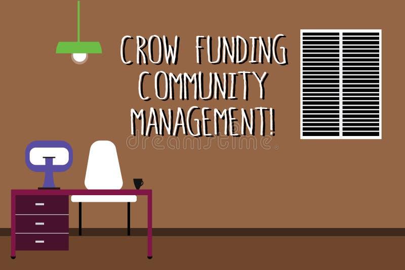 Palavra que escreve a gestão da comunidade do financiamento do corvo do texto Conceito do negócio para investimentos Work Space d ilustração do vetor