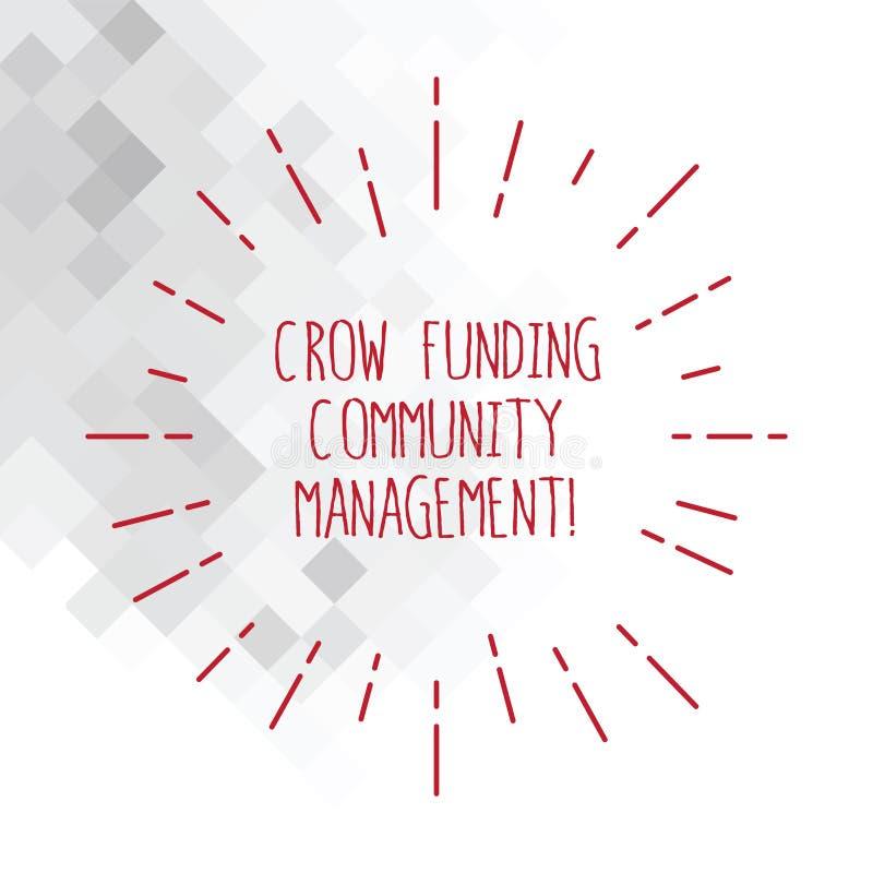 Palavra que escreve a gestão da comunidade do financiamento do corvo do texto Conceito do negócio para linhas finas do feixe dos  ilustração do vetor
