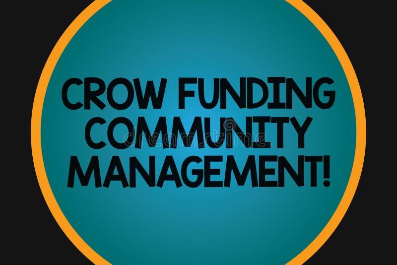 Palavra que escreve a gestão da comunidade do financiamento do corvo do texto Conceito do negócio para a placa grande dos investi ilustração do vetor