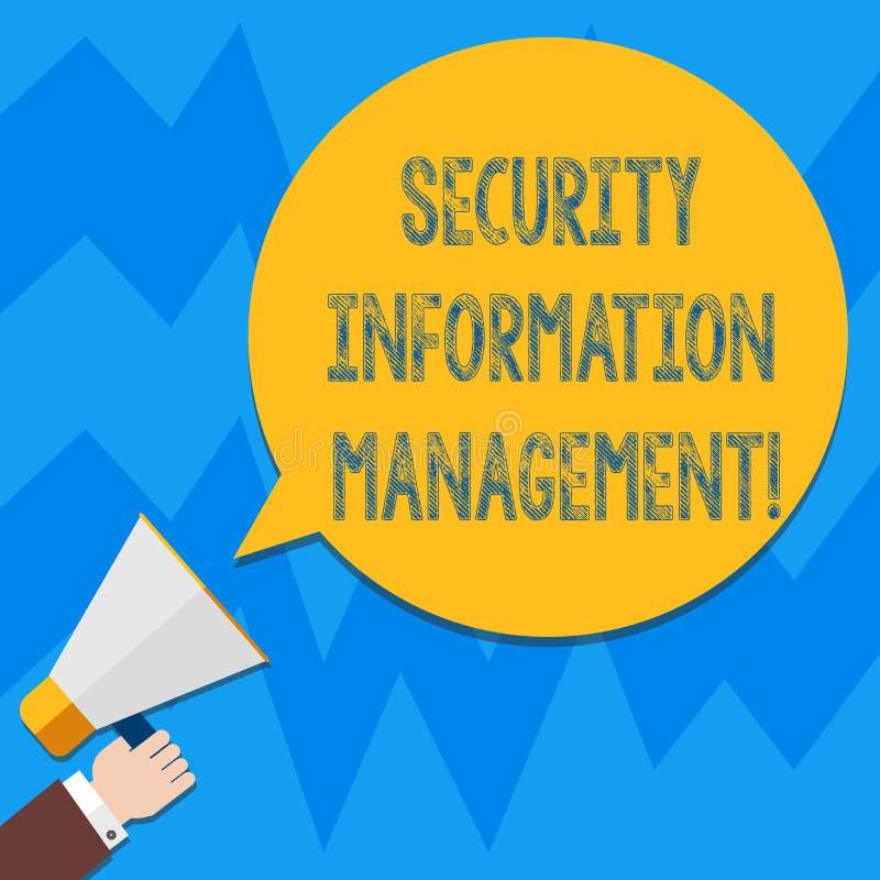 Palavra que escreve a gestão da informação da segurança do texto Conceito do negócio para recolher e analisar logs Hu dos dados d ilustração royalty free
