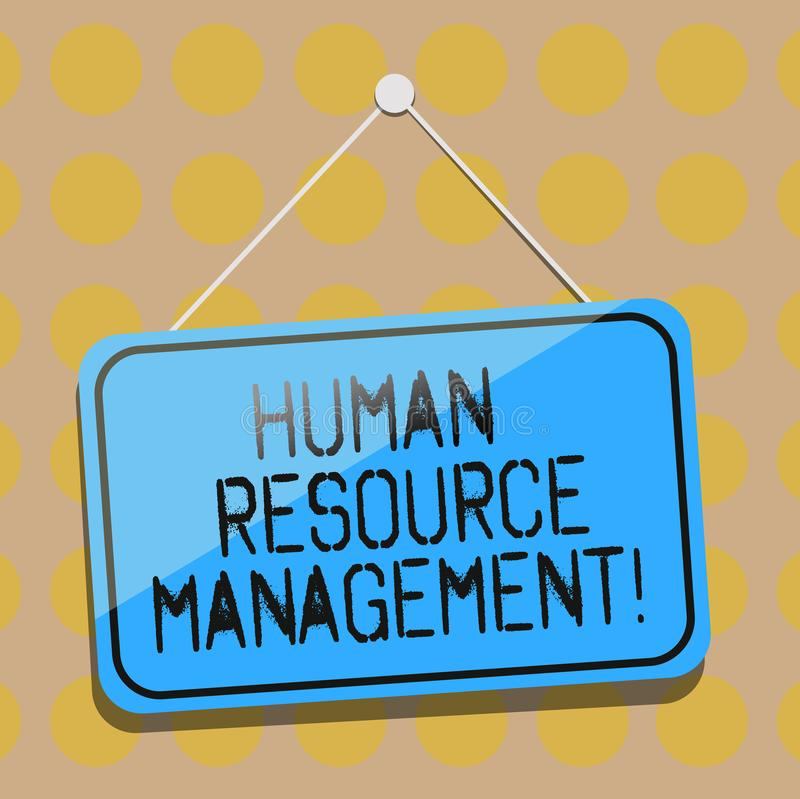 Palavra que escreve a gestão de recurso de Huanalysis do texto O conceito do negócio para o processo de contratar e de desenvolve ilustração stock