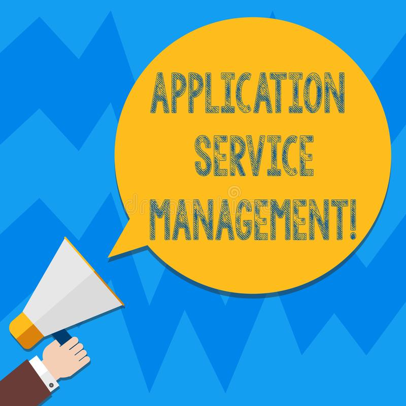 Palavra que escreve a gestão do serviço da aplicação do texto Conceito do negócio para o processo de manter a análise de Hu da op ilustração stock