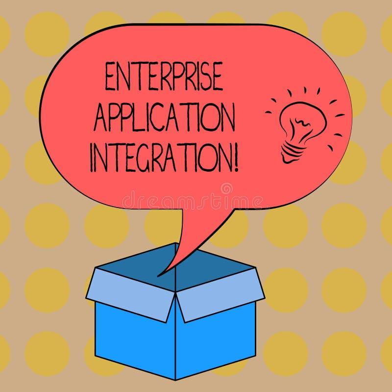 Palavra que escreve a integração da aplicação da empresa do texto Conceito do negócio para o ícone de conexão da ideia das aplica ilustração stock