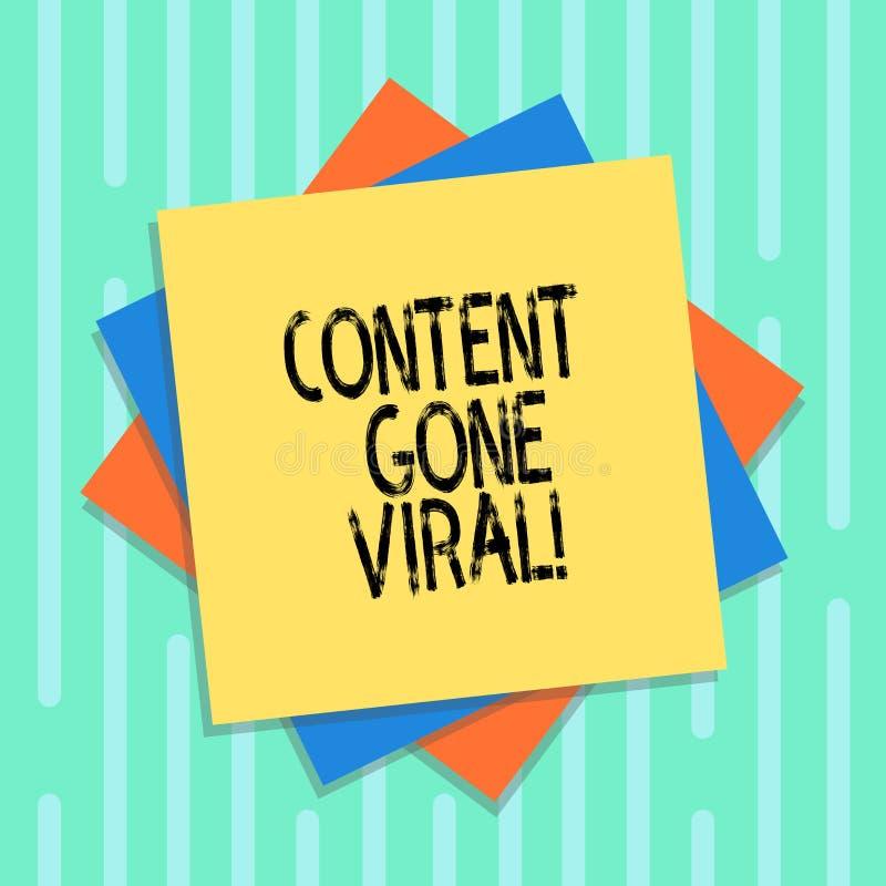 Palavra que escreve o índice do texto ido viral Conceito do negócio para a relação video da imagem que espalha rapidamente atravé ilustração stock