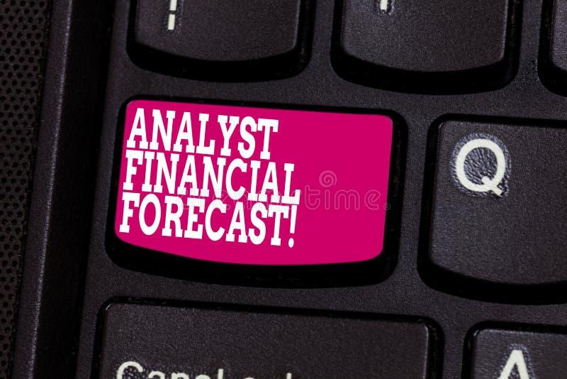 Palavra que escreve o conceito de Financial Forecast Business do analista do texto para os resultados financeiros futuros da aval fotografia de stock