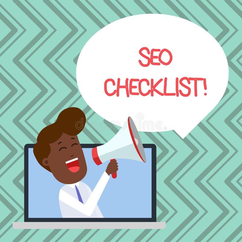 Palavra que escreve o conceito de Seo Checklist Business do texto para a lista de artigos exigidos para aperfei?oar o discurso do ilustração do vetor