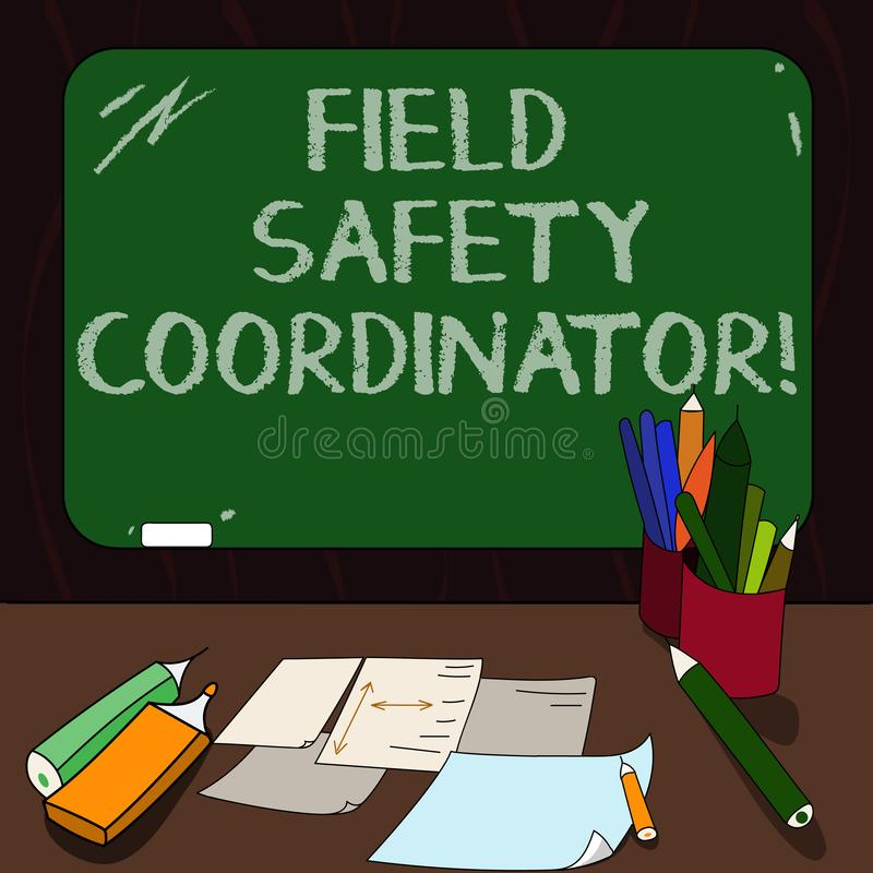Palavra que escreve o coordenador da segurança do campo do texto O conceito do negócio para a conformidade Ensure com saúde e os  ilustração stock