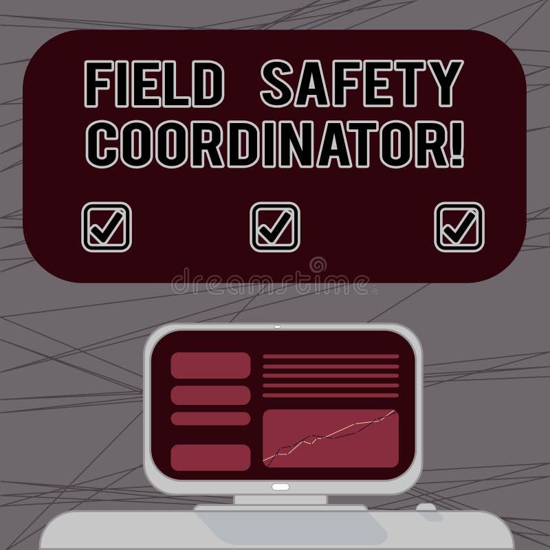Palavra que escreve o coordenador da segurança do campo do texto Conceito do negócio para a conformidade Ensure com saúde e stand ilustração stock