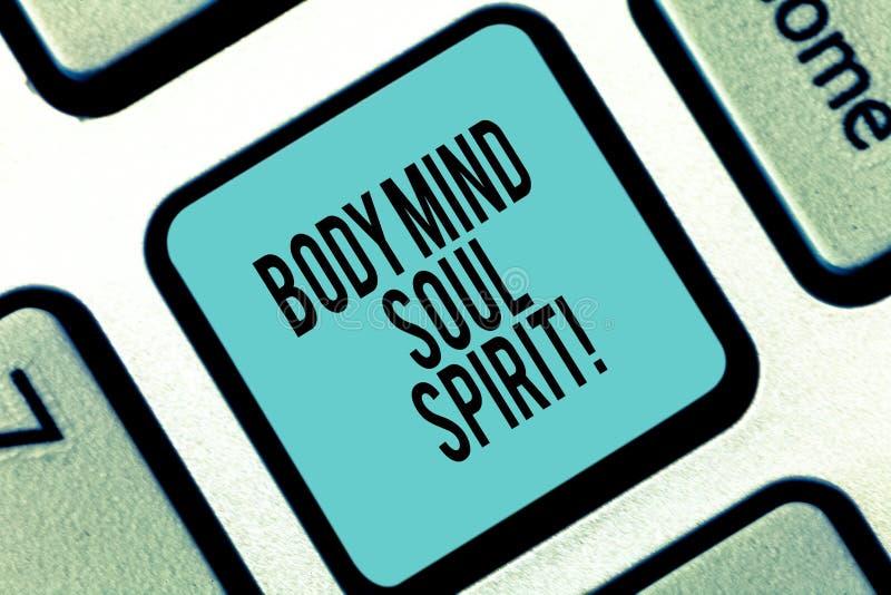 Palavra que escreve o espírito da alma da mente do corpo do texto Conceito do negócio para sentimentos espirituais do equilíbrio  imagens de stock royalty free