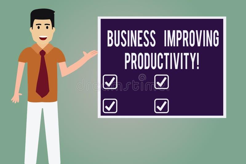 Palavra que escreve o negócio do texto que melhora a produtividade Conceito do negócio para o aumento da eficiência em produzir o ilustração stock
