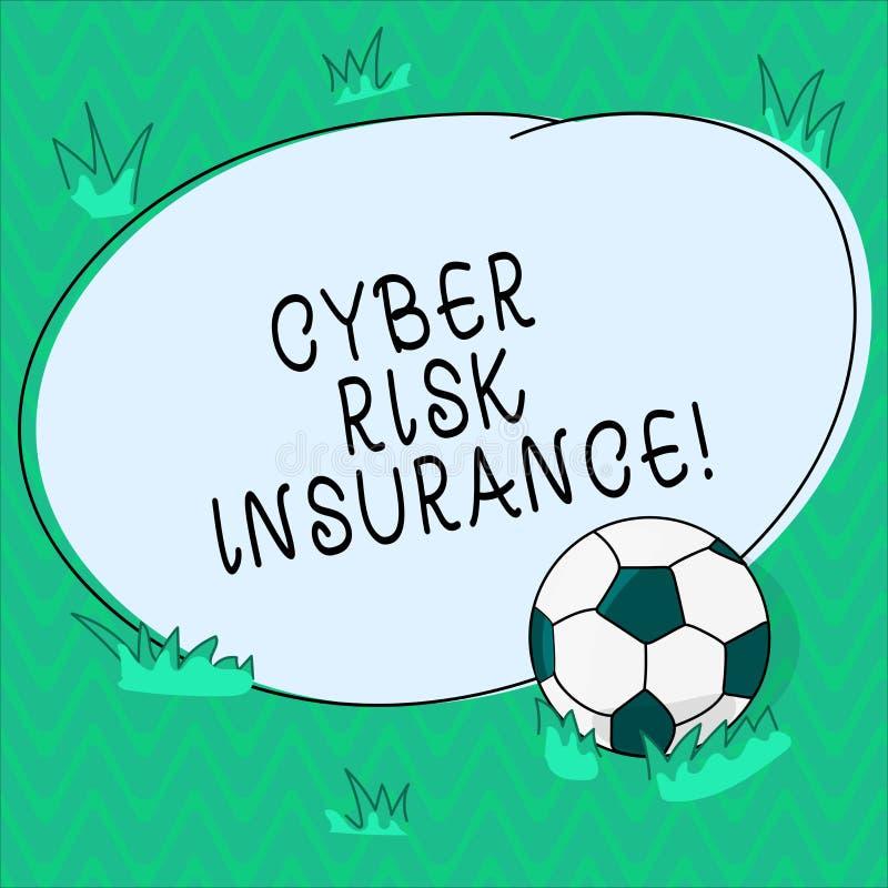 Palavra que escreve o seguro de risco do Cyber do texto Conceito do negócio para as perdas financeiras das tampas que resultado d ilustração royalty free