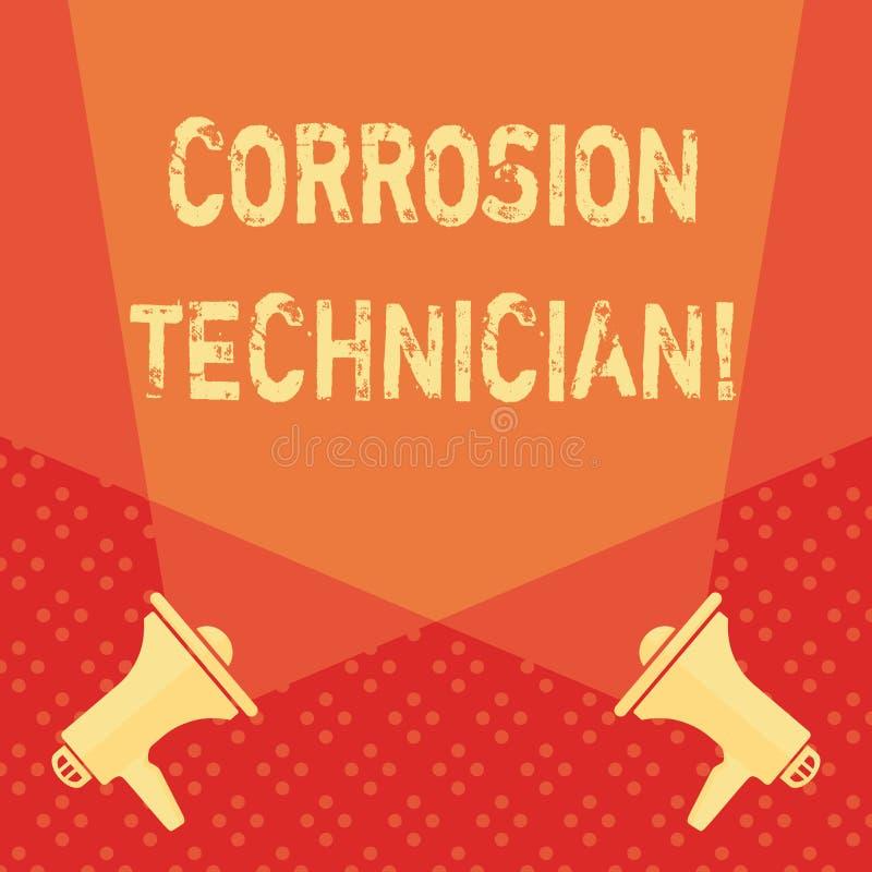 Palavra que escreve o técnico da corrosão do texto Conceito do negócio para sistemas de controlo da corrosão da instalação  ilustração royalty free