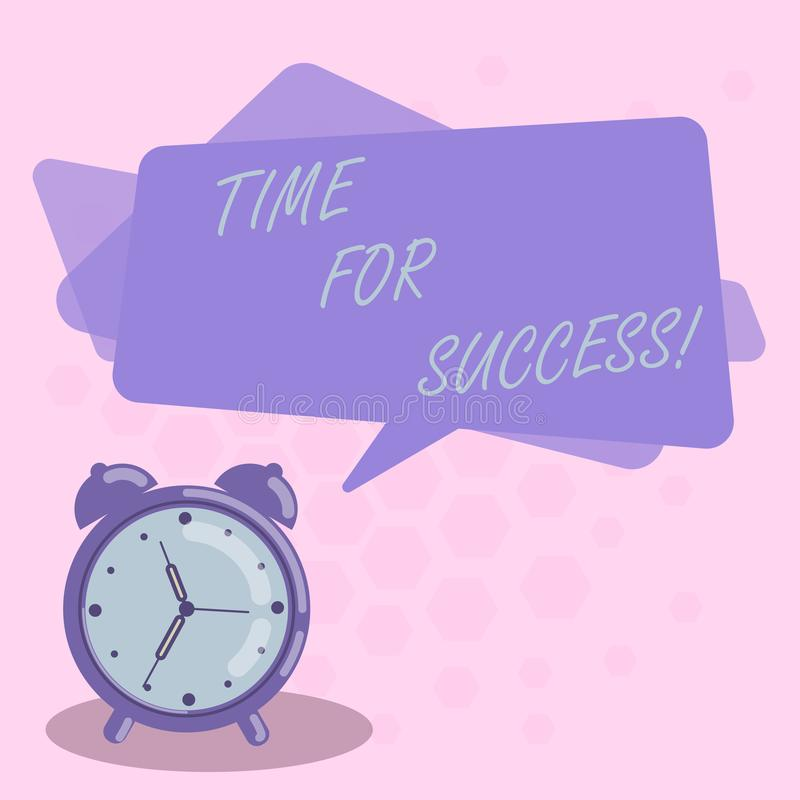 Palavra que escreve o tempo do texto para o sucesso Conceito do negócio para para obter recompensas profissionais após a placa ef ilustração do vetor