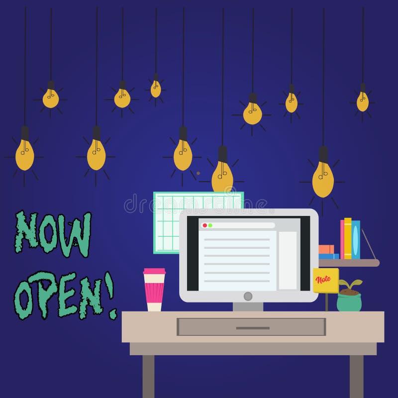 Palavra que escreve o texto agora aberto O conceito do negócio para a porta da licença ou as janelas não fecharam-se ou barraram- ilustração do vetor
